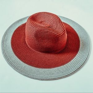 Urban outfitters maroon and gray boho paper hat